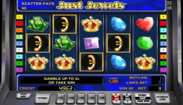 Россыпи драгоценных камней в игровом аппарате «Just Jewels»